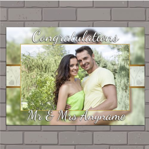 Personalised Congratulations Wedding Engagement Anniversary Party PHOTO Poster Banner N152 Bokeh Background